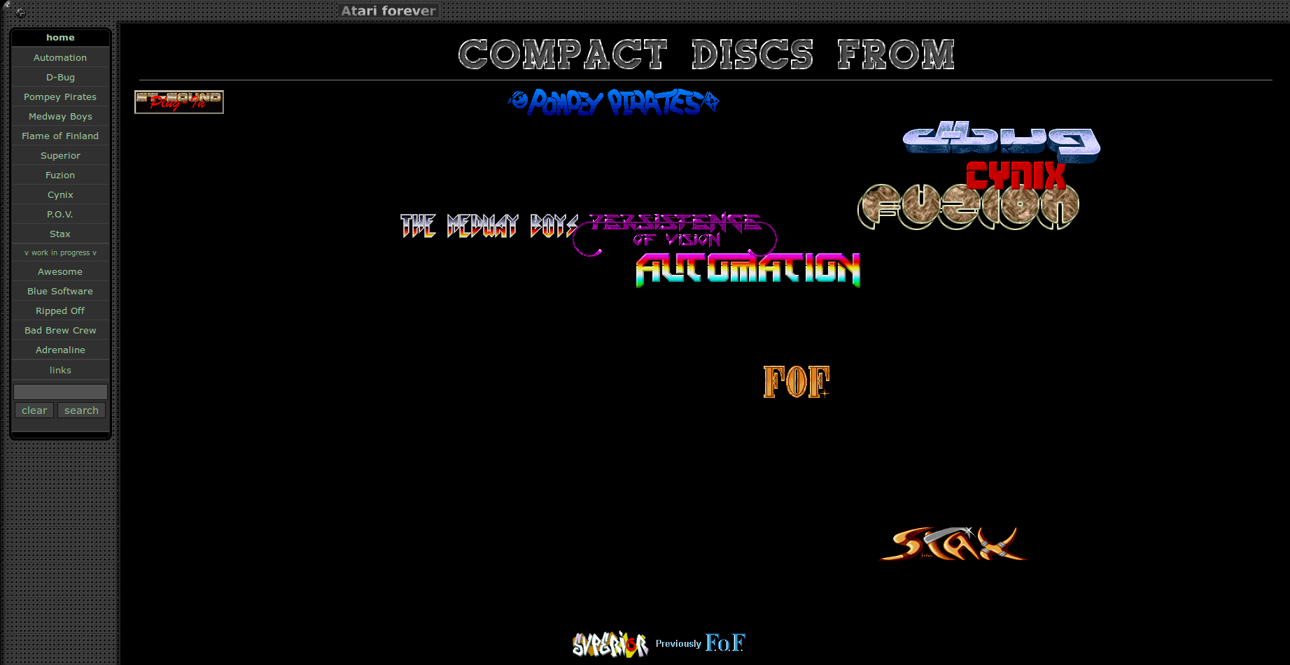 Screenshot of website Mr. Sam's Atari ST site