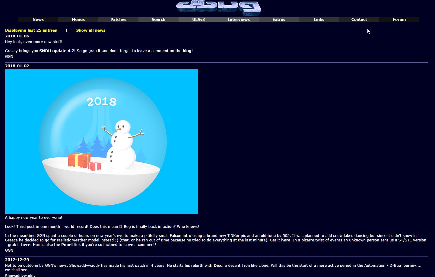 Screenshot of the website Home of D-BUG