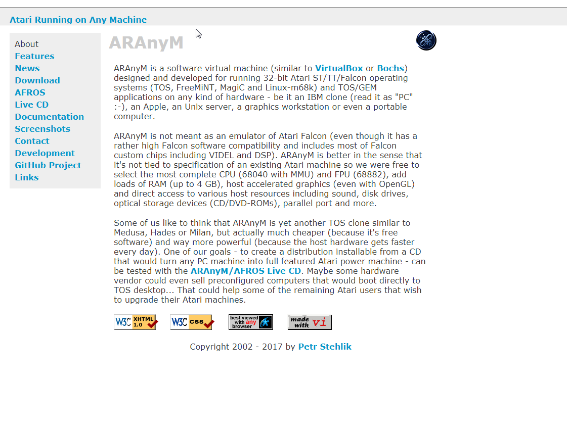 Screenshot of website ARAnyM