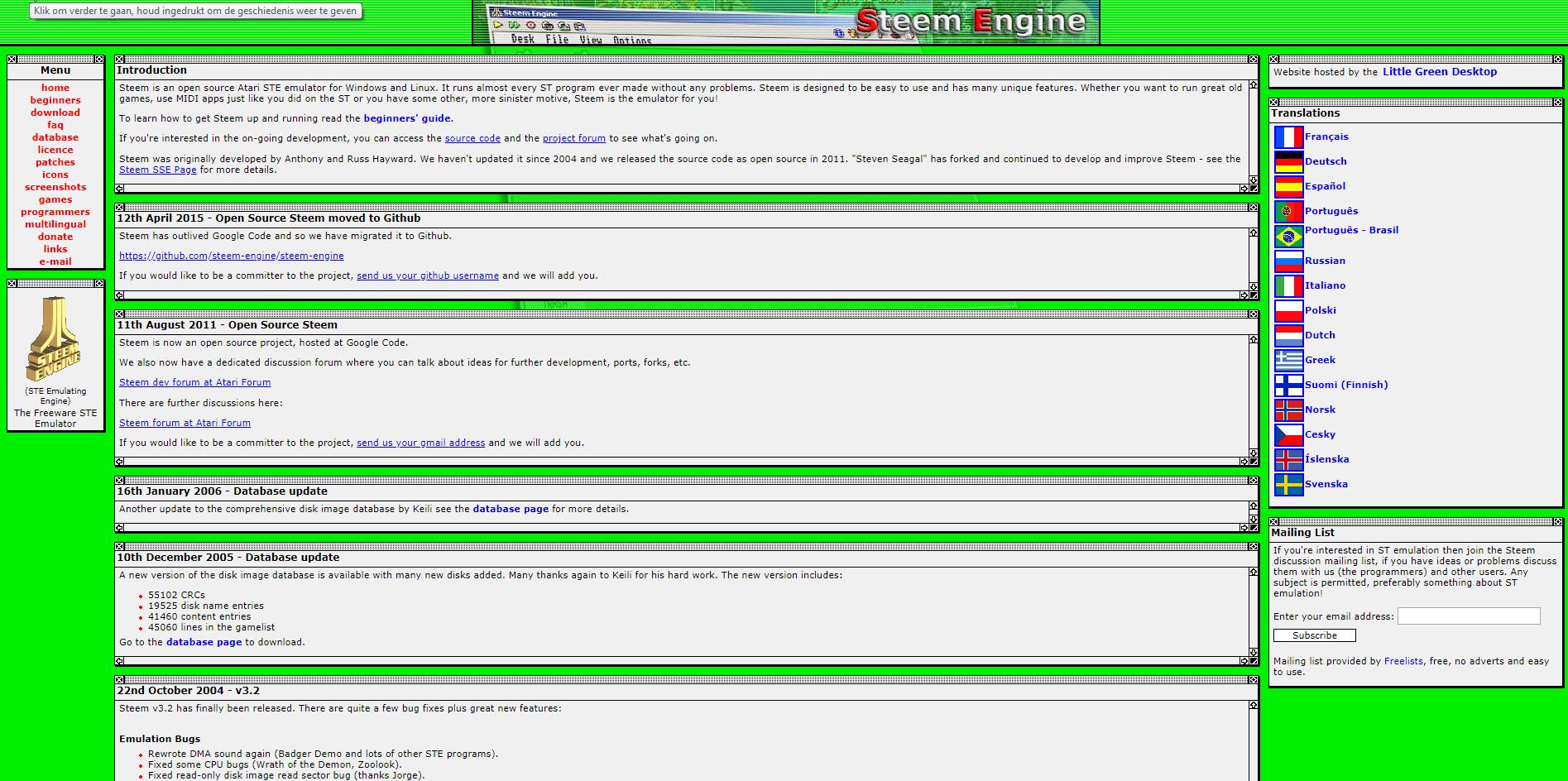 Screenshot of website STEEM
