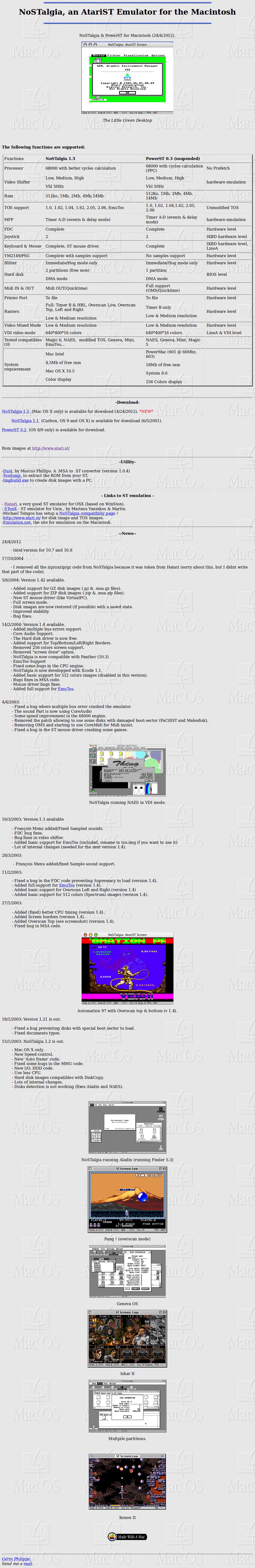 Screenshot of website NoSTalgia