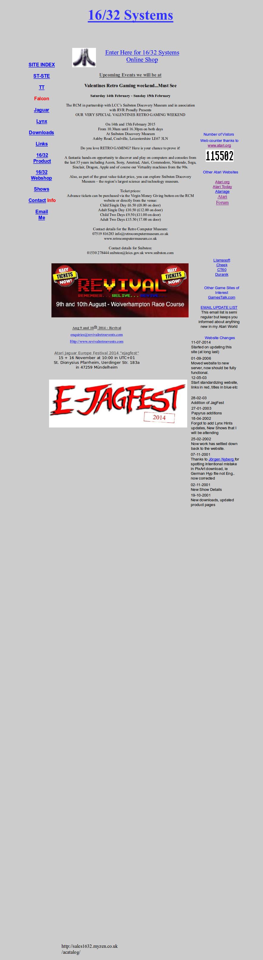 Screenshot of website 16/32 Systems