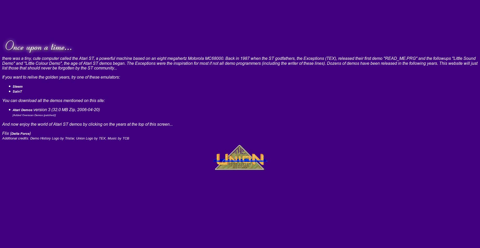 Screenshot of website Atari ST Demo History