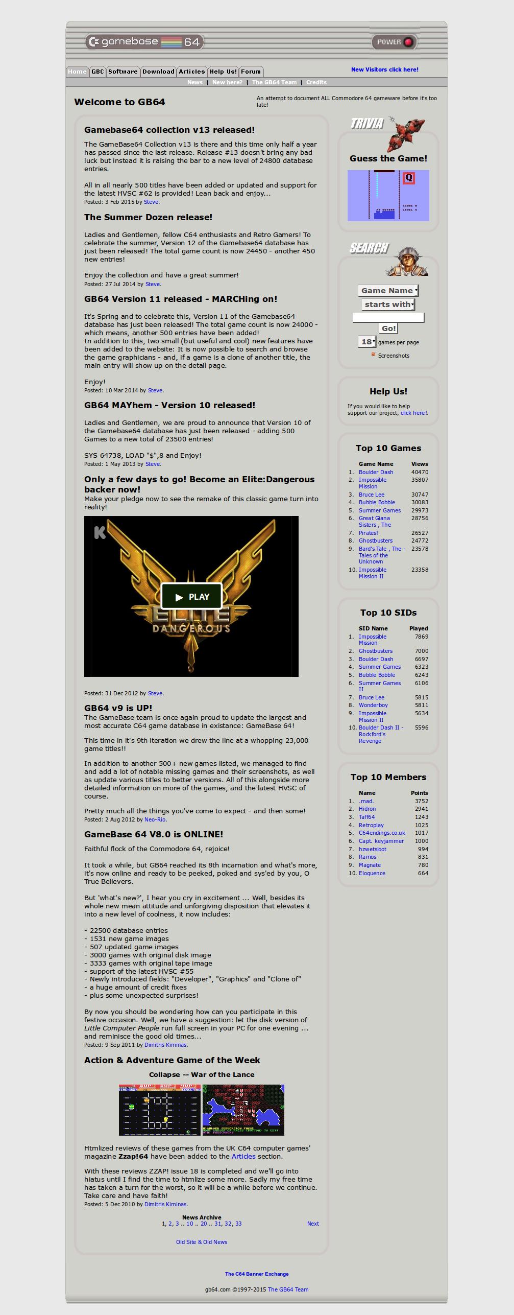 Screenshot of website Gamebase 64