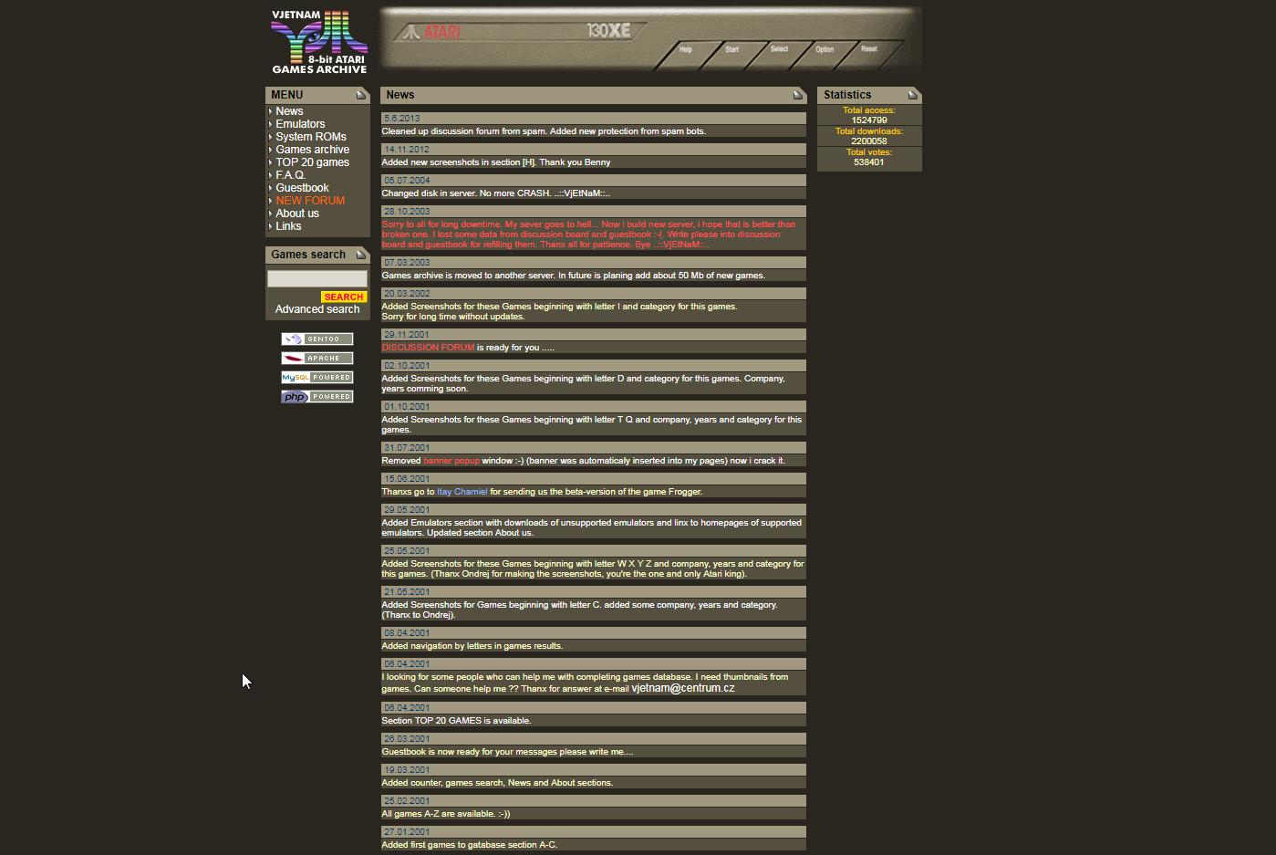 Screenshot of website Vjetnam 8-bit Atari games archive