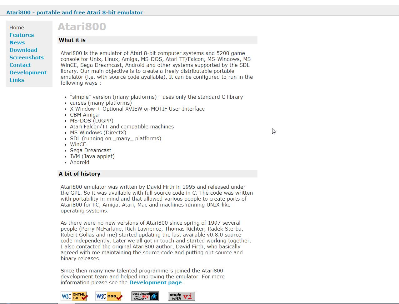 Screenshot of website Atari800 - portable and free Atari 8-bit emulator