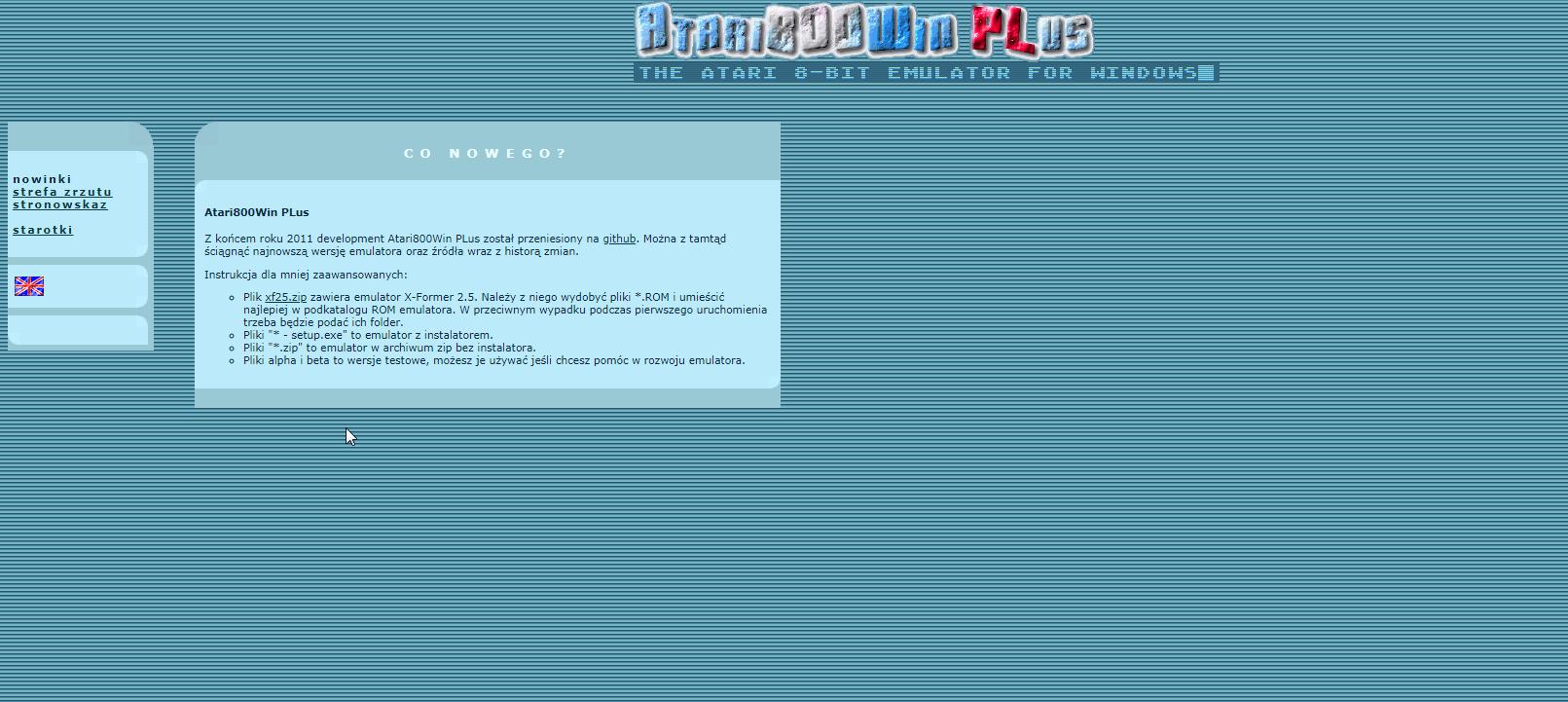 Screenshot of website Atari800Win Plus