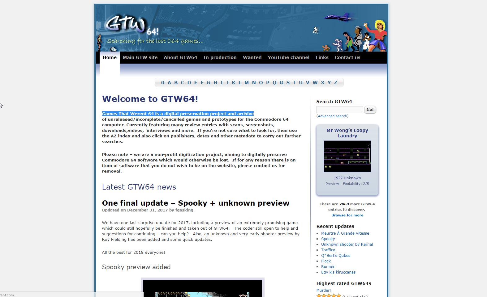 Screenshot of website GTW 64