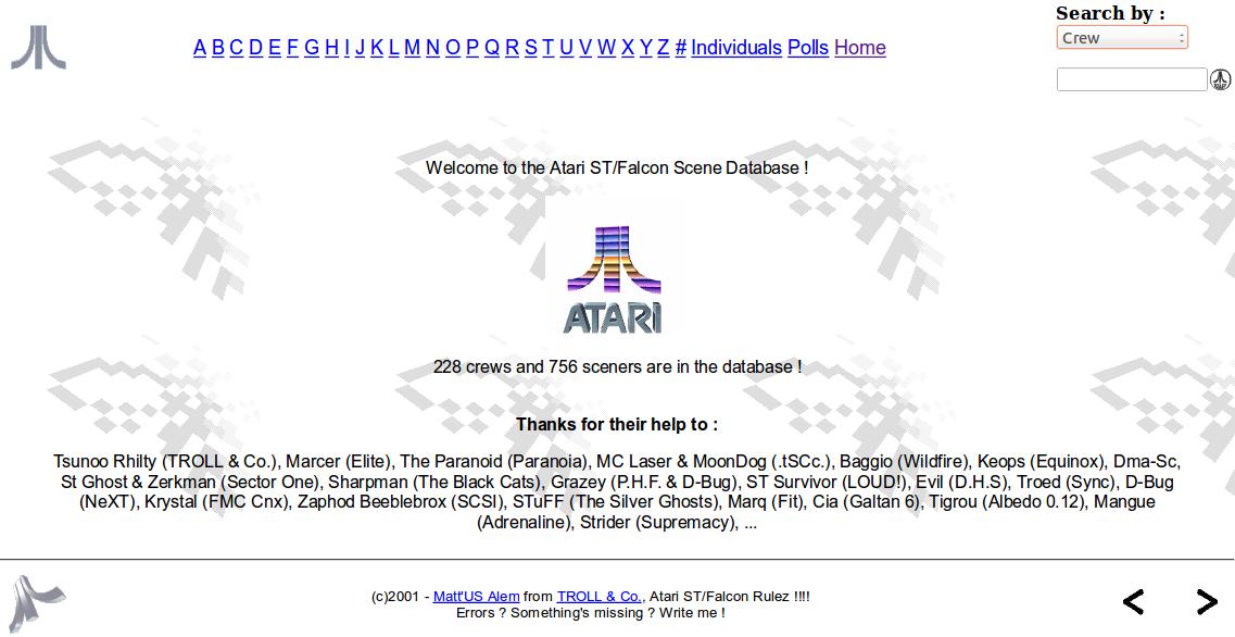 Screenshot of website Atari ST Scene Genealogy