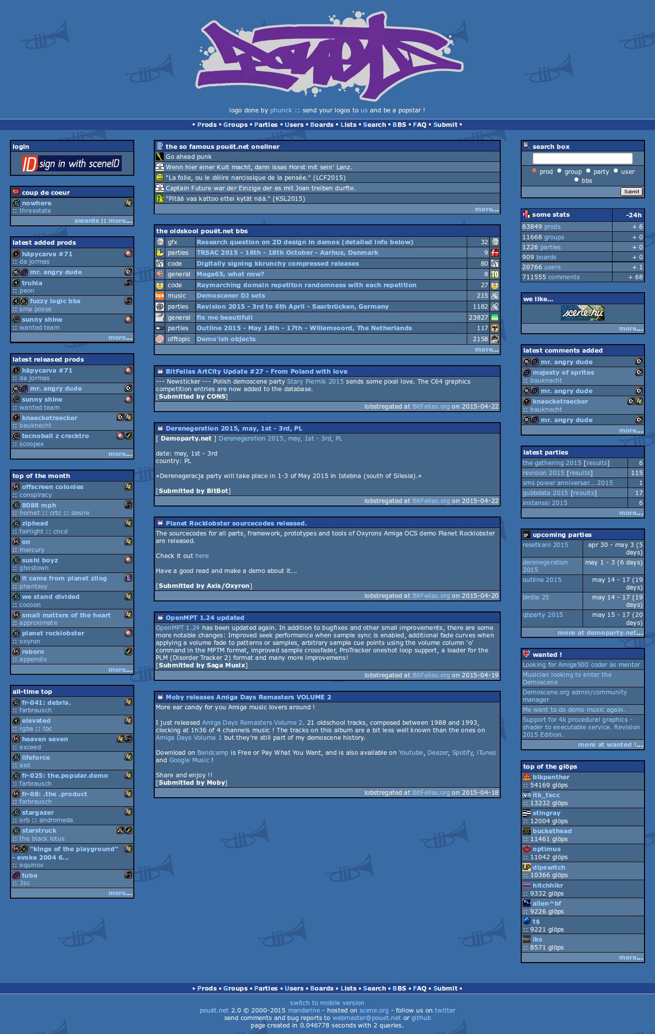 Screenshot of website Pouet